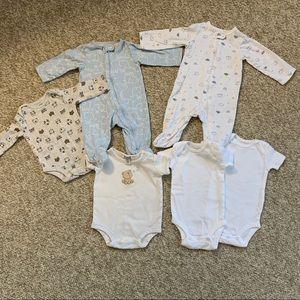 6 pc. Baby boy/girl 3 mo. Sleepers and Tees- EUC